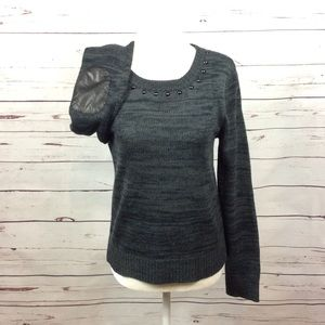 [Sanctuary Anth] Faux Leather Elbow Patch Sweater